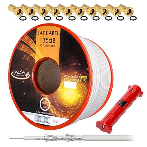 135dB 25m HB-Digital REINES Kupfer SAT KOAXial Antennen Kabel weiß Weiss UHD 4K inkl. Abisolierer und 10x F-Stecker (vergoldet)