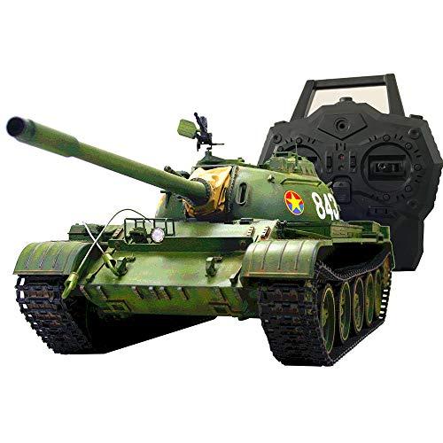 HOOBEN Full Set 1/16 RC Motortank Kit T55A Russische Mittlere Panzer mit Metall (Getriebe, Lauf, Kettenrad und Zwischenrad und Metallaufhängung), Vollausstattung IR + Sound + Smoke + 2.4GRC + VCU