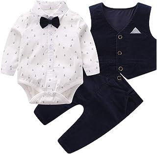 بدلة أطفال للأولاد الصغار، قميص بأكمام طويلة للرضع، بنطلون صدرية + ربطة عنق + طقم ملابس صدرية