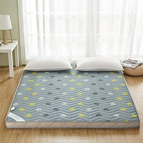 ZXL 3D gedrukt luchtdoorlatend bamboehoutskool matras antislip vloer matras topper bed topper tatami mat slaapzak kussen (grootte: 120x200 cm (47x79 inch))