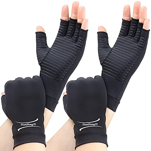 2 Pairs Arthritis Gloves,Copper Compression Arthritis Gloves,Fingerless Hand Gloves for Women and Men,Carpal Tunnel, RSI Osteoarthritis,Computer Typing, and Everyday Support (Black, Small)