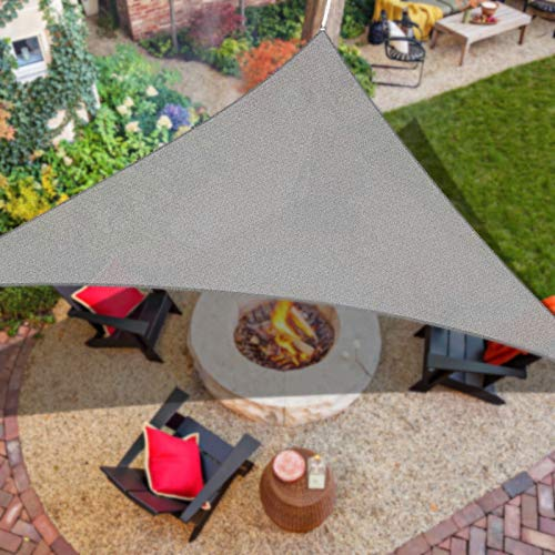 iCOVER 12'x12'x12' Sun Shade Sail Canopy, 185GSM Fabric Permeable Pergolas Top Cover, for Outdoor Patio Lawn Garden Backyard Awning, Grey