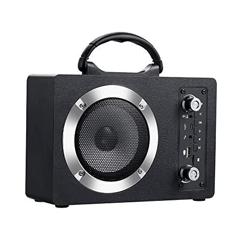 HJJH Extérieur intérieur sans Fil Bluetooth Portable PA Haut-Parleur 4inch subwoofer Sound System FM Radio pour Mariage, présentation, activités de Plein air,Black