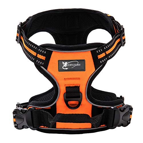 Copatchy Dog Harness No-Pull Pet Harness Adjustable Outdoor Vest 3M Reflective Oxford Material Easy Control for All Sized Dogs (X-Small, Orange)