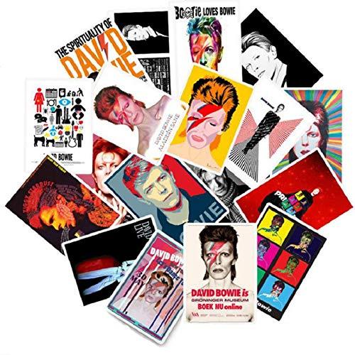 BLOUR 25 Stück Rock Sänger David-Bowie Aufkleber für Laptop Kofferraum Kühlschrank Skateboard Rock Musik Aufkleber PVC wasserdicht Aufkleber