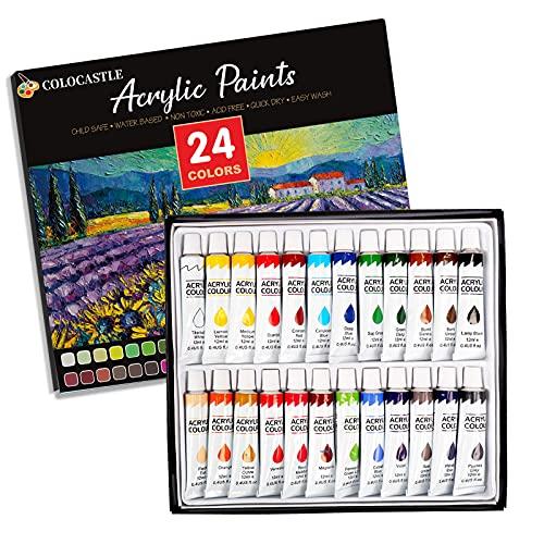 Colori Acrilici per Dipingere, 24 x 12ml a Base d'Acqua Colori Acrilici per Tessuto, Carta, Tempera, Roccia, Legno, Ceramica Tela Fai-da-Te Set di Pittura Acrilica per Principianti Bambini