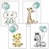 Frechdax® Poster Kinderzimmer Deko Bilder Babyzimmer Mint