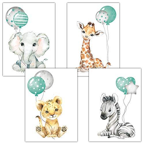 Frechdax® Poster Kinderzimmer Deko Grau Bilder Babyzimmer Safari Dschungel Tierposter Luftballon (Mint Ballons)