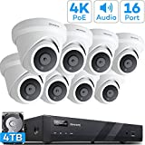 【Audio】 ONWOTE 16 Channel 4K 8MP IP PoE Security Camera System 4TB HDD, 16CH 8MP H.265 NVR, (8) Outdoor Dome 4K PoE IP Cameras, 100ft IR, 24/7 Video Surveillance Recording for Home and Business