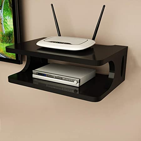 SKAFA MDF; Wood Wall Mounted Shelf,Glossy Finish,Set Of 1,Black