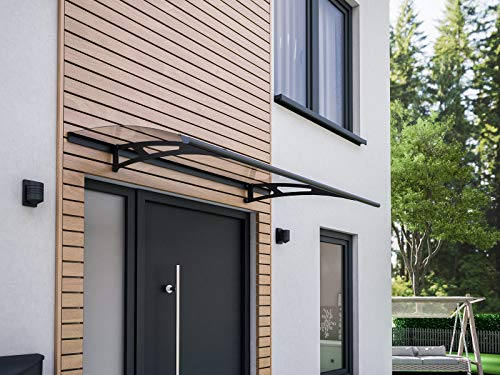 Schulte Vordach Haustür Überdachung 160x90 cm Stahl anthrazit rostfrei Polycarbonat durchgehend transparent Pultvordach Style Plus