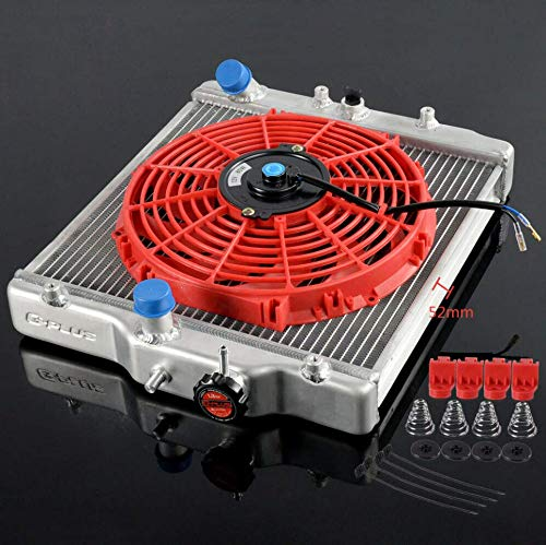 3 Row Aluminum Racing Radiator 52mm + 12' Red Radiator Cooling Fan Compatible For HONDA CIVIC EK EG D15 D16 1992-2000