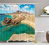 N\A Cortina de Ducha, Cortina de Ducha Cortina de Ducha Colorida Playa Islas Lanzarote Canarias Cortina de Ducha de baño Decoración Impermeable Juego de baño con Ganchos
