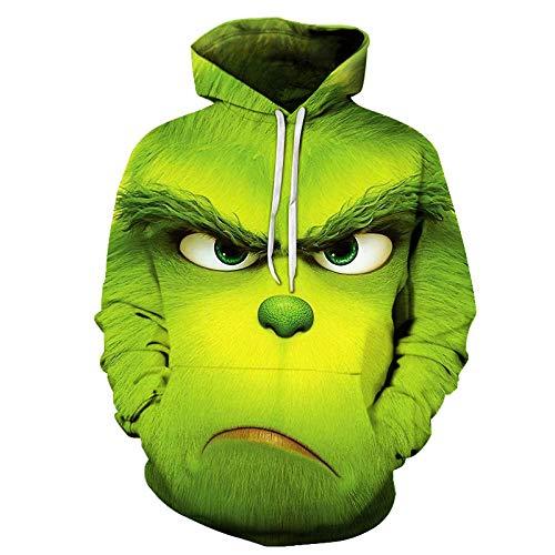 WYPAN Grünes Orang-Utan Muster-WY138_XL Herren Slim Fit Hoodie Long Sleeve Kapuzenpullover 3D Druck Muster Sweatshirt Pullove