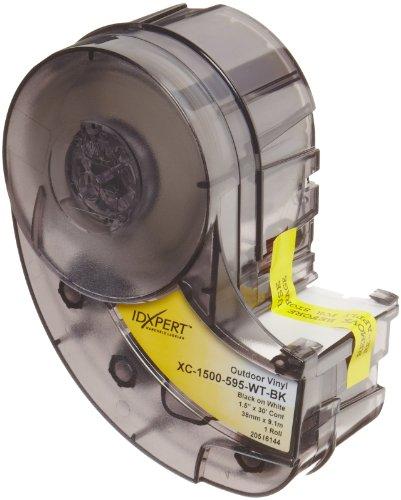 Brady Cinta de vinilo de alta adherencia (XC-1500-595-WT-BK) – Película de vinilo negro sobre blanco – Compatible con impresoras de etiquetas IDXPERT y LABXPERT – 30 pies de longitud, 1.5 pulgadas de ancho