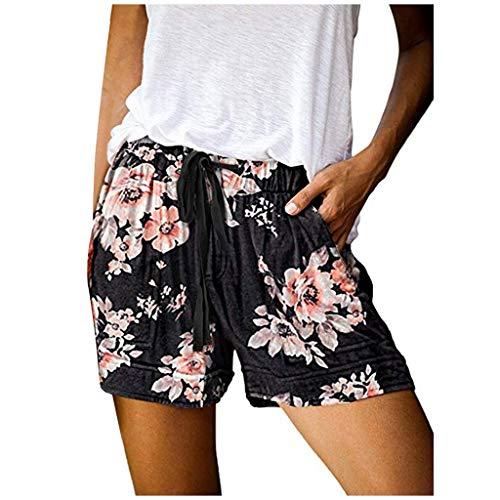 Buyaole Pantalones Cortos Mujer con Bolsillos Sexy,Pantalones Cortos De Bolsillos De Cintura EláStica con Cordones CóModos para Mujer De Moda