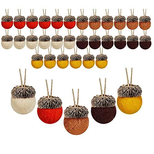 ZXCFTG Adornos de bellota de lana de fieltro, 30 bolas de fieltro con pompones de bellota de 32.8 pies de cuerda de fieltro, decoración de bellota para árbol de Navidad