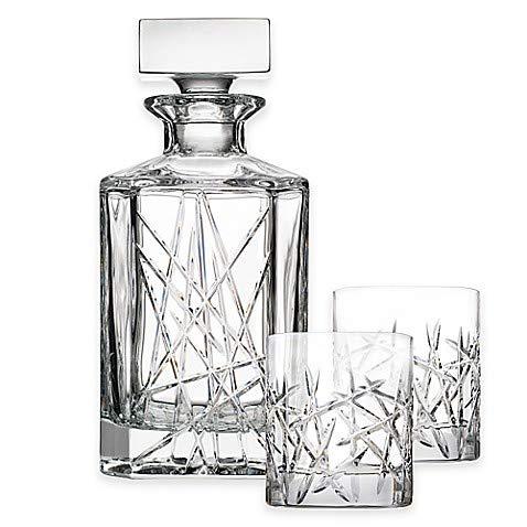 "Czech Bohemian Crystal Glass Whiskey Set 1+6 ""Graffiti"" Heavy Base Decanter 27oz./800ml. + Tumblers 10oz./300ml. Old Fashioned Style Scotch Bourbon Vodka Brandy Holiday Gift Birthday Wedding"