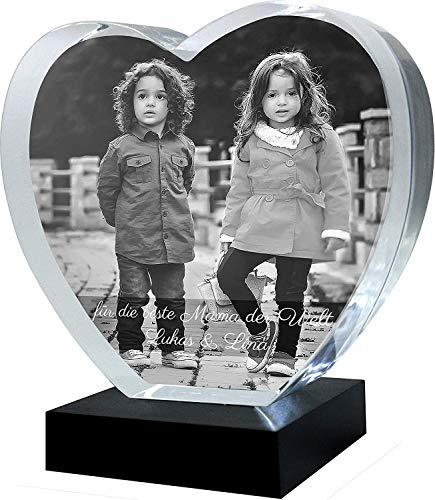 Galerie Kristall Kristall-Glas Herz ohne Spitze mit Wunsch-Bild und Wunsch-Text (Größe XL, 130 x 120 x 40mm, mit LED-Lichtsockel inkl. Batterien)