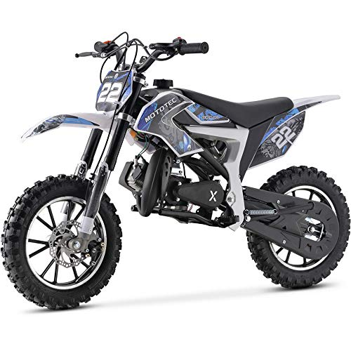 MotoTec 50cc Demon Kids Gas Dirt Bike 2-Stroke Motorcycle Pit Bike Blue