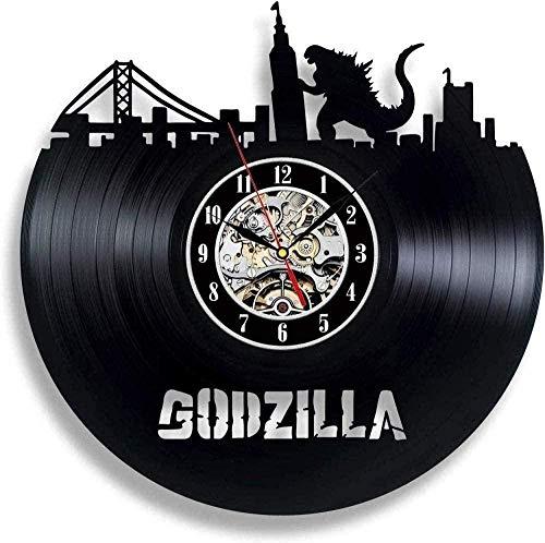 CCGGG Reloj de Pared con Disco de Vinilo, decoración Negra, decoración de Dormitorio Moderno, Reloj de Pared con Disco de Vinilo, Ventilador Godzilla