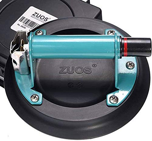 """ZUOS 8"""" Glass suction cup for Granite & Glass Lifting, Vacuum Suction Cup Vacuum Glass Lifter with Metal Handle and ABS Pump,220lbs Load Capacity(With a free case)"""