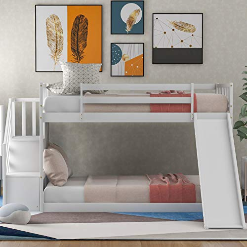 Harper & Bright Twin Low Bunk Bed with Stairs and Slide