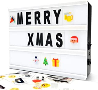 Cinema Light Box- A5 Magnetic Led Light Box with 160 Letters Numbers and Symbols-Customized Your Own Message for Home Decoration/Wedding/Birthday Parties