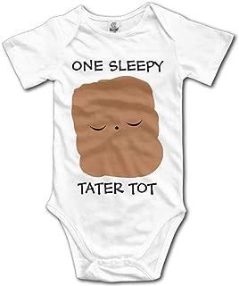 Wishesport FUNINDIY Newborn Infant Sleepy Tater TOT Funny Baby Onesie Bodysuits White