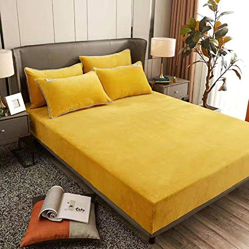 Milk Cashmere Fitted Bed Sheets Pillowcase Mattress Cover Winter Solid Color King Queen Size Bedspread Bed Cover,A,150x200x25cm