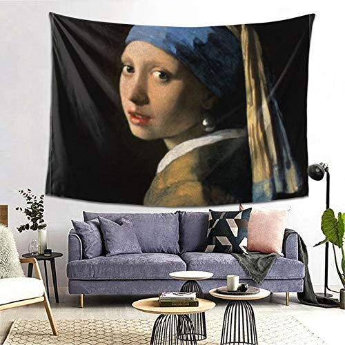 ZGPOJNDKI Girl With A Pearl Earring Tapestry Wall Hanging Home Decor Art Tapestries for College, Student, Dorm, Living Room, Bedroom H60'' x W80''