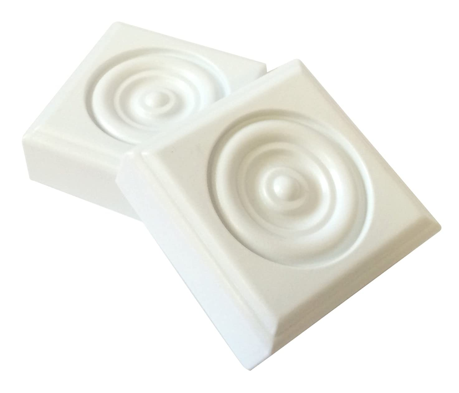 2 Piece Minute Molding Classic Plastic Block Rosette (2-3/4 in.) for Interior Doors and Windows (83051)