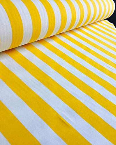 Sofia gestreepte stof - 4cm brede strepen voor gordijnen Bekleding Home Decor Table Runner Materiaal - 6 kleuren: rood, zwart en wit, geel, blauw, aqua, kaki groen - 140cm breed (verkocht per meter)