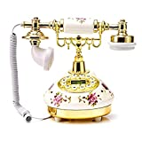 N/Z Teléfono retro, teléfono europeo de cerámica, teléfono vintage, teléfono americano antiguo, teléfono fijo, diseño vintage, con dial y timbre, para hoteles, oficinas, decoración de casa