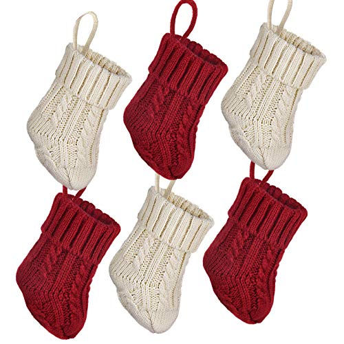 LimBridge Christmas Mini Stockings, 6 Pack 7 inches Cable Knit Knitted Rustic Stocking Decorations, Goodie Bags for Family Friends, Cream Burgundy