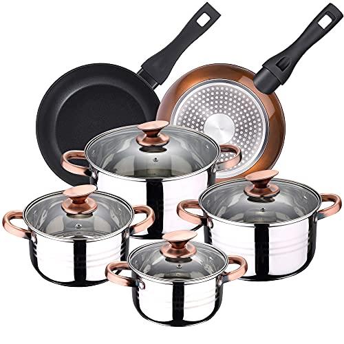 San Ignacio Bateria de cocina 8 piezas apta para induccion Altea en acero inoxidable con juego de sartenes Brown Neon (20 y 24 cm) en aluminio forjado, PK3240