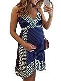 Tomwell Vestidos para Premamá Sin Mangas Falda De Tirantes Cuello En V Irregular Falda Costuras Vestidos Embarazadas con Borde De Cinturón Mini Vestido Azul Oscuro 38