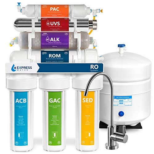 Product Image of the Express Water UV Reverse Osmosis Water Filtration System – 11 Stage UV Water Filter with Faucet and Tank – Under Sink Water Filter with Alkaline Filter for added Essential Minerals 100 GDP