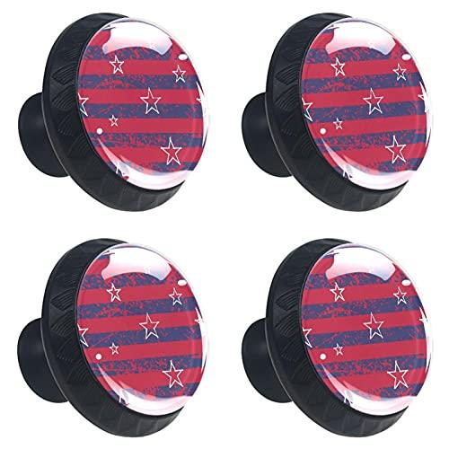 (4 piezas) pomos de cajón para cajones, tiradores de cristal para gabinete con tornillos para armario, hogar, oficina, armario, rayas, color rojo, azul marino, bandera de Estados Unidos, 35 mm