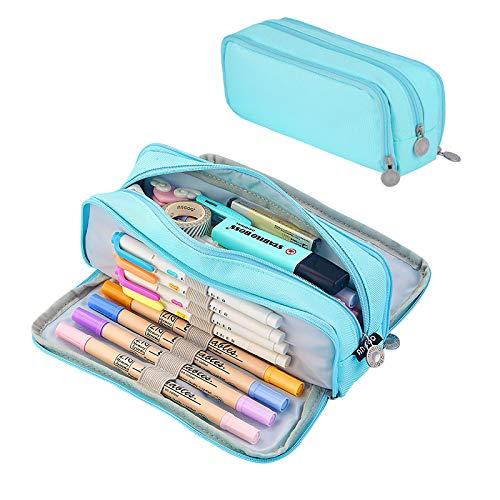 Coolzon® Pencil Case, Papeleria con Bolígrafos de Buena Capacidad y Estuche de Lápices como Material Escolar para Estudiantes Gris
