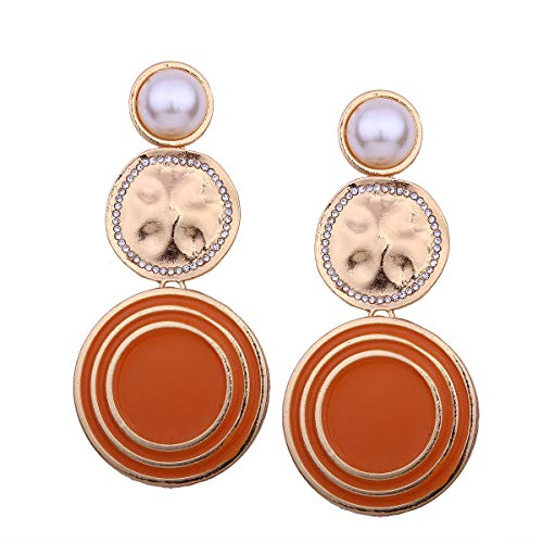 Pendientes de perlas de imitación de mujer atmosférica, textura de hilo geométrico, pendientes largos grandes y redondos, te hacen más sexy en naranja