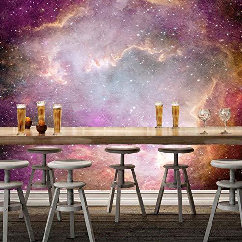 MGQSS Papel pintado Paisaje natural de la vía láctea Pintura de la pared Arte de la pared 3D Auto-adhesivo PVC Mural Comida y bebida Tienda de café Restaurante Tema Pared de fondo 3 (W)430x(H)300 cm