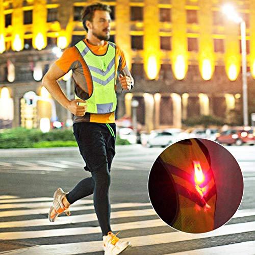 DAUERHAFT Chaleco Reflectante Chaleco de Seguridad Malla Textil Deportiva, para Carrera Nocturna, Ciclismo, con luz LED, Bolsillo de Almacenamiento(L)
