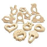 RUBY 12 Stück Holzfiguren Bio Baby DIY Hängekit Zubehör Kinder Dusche Naturholz Spielzeug (Los 3)