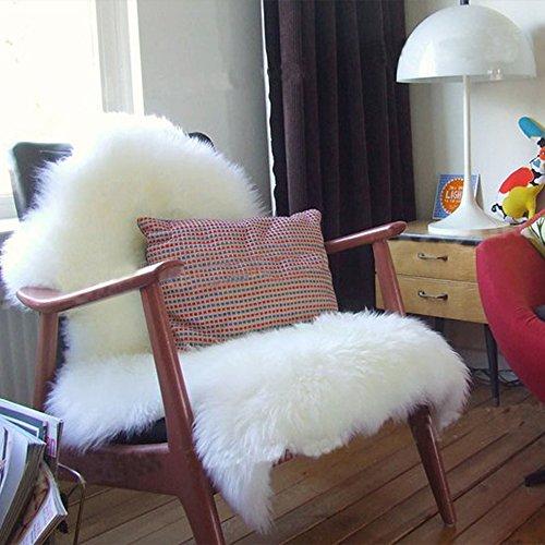 フェイクシープスキンラグ 毛足極長 ふかふか ムートンフリース ジャンボサイズ リビング/ベッドルーム 羊毛ラグマット シートマット ホワイト 羊の形 75cm×120cm