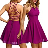 Womens Hot Sexy Backless Bandage Sleeveless Mini Dress Casual Party Prom Cocktail Short Swing Dresses (Hot Pink, M)