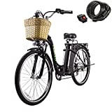 """Nakto 26"""" 250W Cargo-Electric Bicycle 6 Speed e-Bike with 36V Lithium Battery Aadult/Young Adult-Women Electric Bike(Black)"""