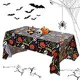 Floepx Mantel de Halloween, 137 x 274 cm, esqueleto, resistente al agua, diseño de calabaza, mantel rectangular, mantel de Halloween para exterior/interior, decoración de fiesta de Halloween (negro)