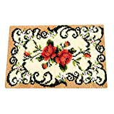 UR MAX BEAUTY Decorative Flower Carpet Uncinetto Kit Fai da Te Cuscino Tappeto di Fiori Fermo Gancio rug Kit Ricamo Uncinetto Ricamo