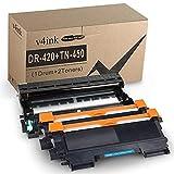 v4ink Compatible Toner Cartridge and Drum Unit Replacement for Brother TN450 TN420 DR420 use with HL-2270dw HL-2280dw HL-2230 HL-2240d MFC-7240 MFC-7360n MFC-7860dw 3 Packs (1 Drum+2 Toner) (Black)